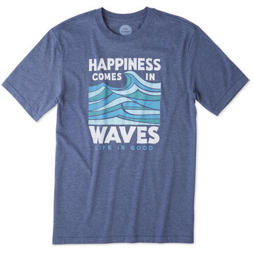 Life is Good Mens Happiness Comes In Waves Short-Sleeve Cool T-Shirt