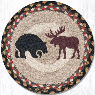 """Capitol Earth Bear & Moose 10"""" Round Braided Rug"""