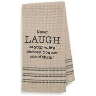 Mona B Laugh Embroidered Waffle Weave Dishtowel