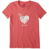 Life is Good Women's Snowflake Heart Short-Sleeve Crusher T-Shirt