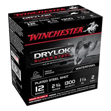 "Winchester DryLock Super Steel Magnum 12 GA 2-3/4"" 1-1/4 oz. #2 Shotshell Ammo (25)"