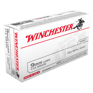 Winchester USA 9mm Luger 115 Grain FMJ Handgun Ammo (50)