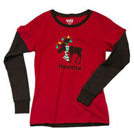 Lazy One Junior's Mooseltoe Christmas Thermal PJ T-Shirt