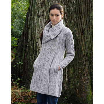 Aran Crafts Womens Large Collar Coat Irish Sweater