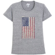 Lakeshirts Women's Blue 84 Kerchief Flag Maine Short-Sleeve T-Shirt