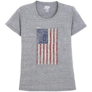 Lakeshirts Womens Blue 84 Kerchief Flag Maine Short-Sleeve T-Shirt