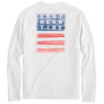 Southern Tide Mens Distressed Wood Flag Performance Long-Sleeve T-Shirt