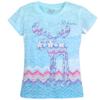 Lakeshirts Girl's Blue 84 Unsubtle Moose Short-Sleeve T-Shirt