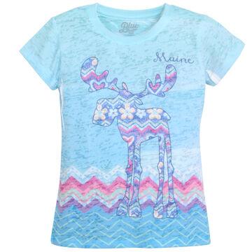 Lakeshirts Girls Blue 84 Unsubtle Moose Short-Sleeve T-Shirt