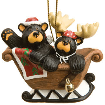 Big Sky Carvers Bear Sleigh Ride Ornament