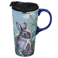 Evergreen Spring Bunny Ceramic Travel Cup w/ Lid