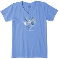 Life is Good Women's Sandal Heart LIG Crusher Vee Short-Sleeve T-Shirt