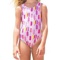 Girl & Co. Girl's Luciana Printed Open Back Swimsuit
