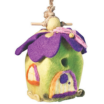 Wild Woolies Pixie House Hand-Felted Birdhouse