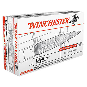 Winchester USA 5.56mm 55 Grain FMJ Rifle Ammo (180)