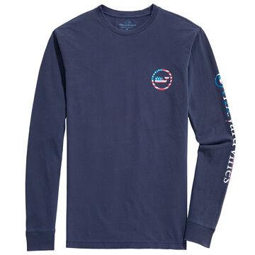 Vineyard Vines Mens Garment-Dyed USA Whale Dot Long-Sleeve Shirt