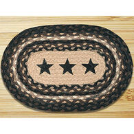 Capitol Earth Braided Oval Black Stars Printed Swatch Rug