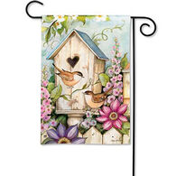BreezeArt Cottage Birdhouse Decorative Garden Flag