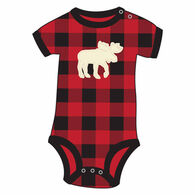 Lazy One Infant's Plaid Moose Applique Creeper
