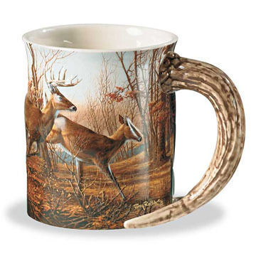 Wild Wings Autumn Run Deer Sculpted Mug