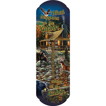 Rivers Edge What Happens at the Cabin Tin Thermometer