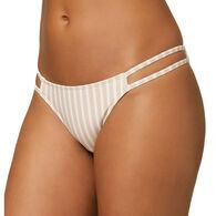 O'Neill Women's Cardiff Lillia Stripe Tab Side Cheeky Bikini Bottom