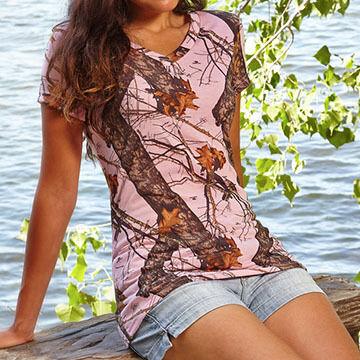 Wilderness Dreams Womens Camo V-Neck Short-Sleeve Sleep T-Shirt