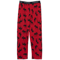 Hatley Little Blue House Men's Moose On Red Jersey Pajama Pant