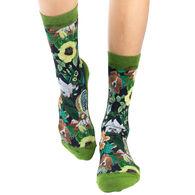 Good Luck Sock Women's Floral Dogs Crew Sock