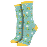 Socksmith Design Women's Wishes in The Wind Dandelion Crew Sock