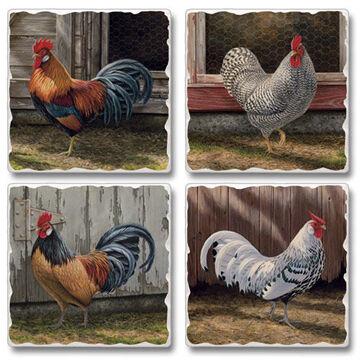 Ridge Top Kountry Krystal Barnyard Rooster Coasters, 4-Pack