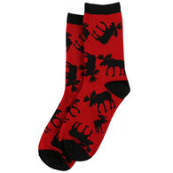 Lazy One Men's Red Classic Moose Crew Sock