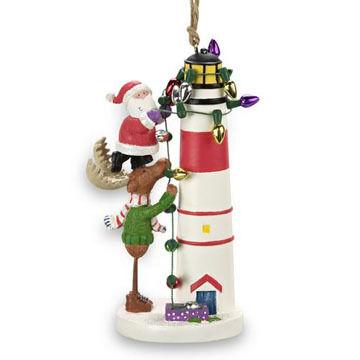 Cape Shore Resin Moose and Santa Lighthouse Ornament