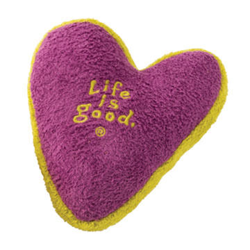Life is Good Plush Heart Squeaky Dog Toy
