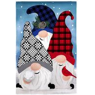 Evergreen Winter Gnome Friends Burlap Garden Flag