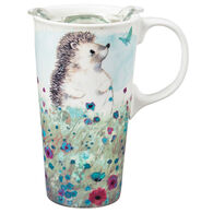 Evergreen Hedgehog in the Meadow Ceramic Travel Cup w/ Lid