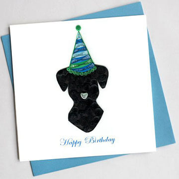 Quilling Card Dog Birthday Card