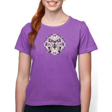 Earth Creations Womens Batik Dragonfly on Organic Cotton Short-Sleeve T-Shirt