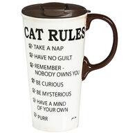 Evergreen Cat Rules Ceramic Travel Cup w/ Lid