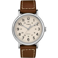 Timex Weekender Leather Strap Full-Size Watch