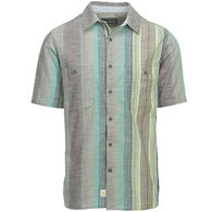 Woolrich Men's Lost Lakes Chambray Stripe II Cotton Short-Sleeve Shirt