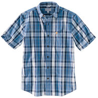 Carhartt Men's Big & Tall Essential Plaid Open Collar Button Down Short-Sleeve T-Shirt