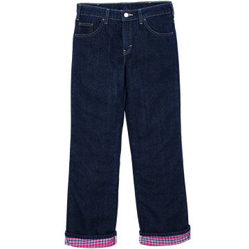 Dickies Women's Relaxed Fit Straight Leg Flannel-Lined Denim Jean