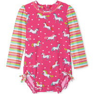 Hatley Infant Girl's Prancing Unicorns Baby Rashguard Swimsuit