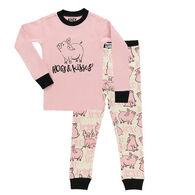 Lazy One Girl's Hogs & Kisses Long-Sleeve Pajama Set, 2-Piece