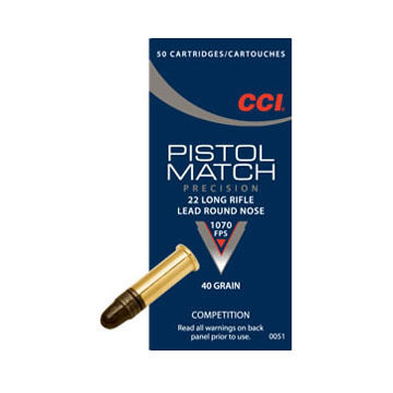CCI Pistol Match 22 LR 40 Grain LRN Ammo (50)