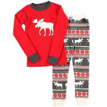 Lazy One Youth Moose Fair Isle PJ Set