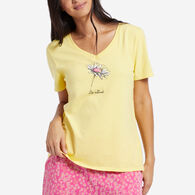 Life is Good Women's Sketched Daisy Short-Sleeve Sleep Vee T-Shirt