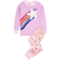 Hatley Girl's Unicorn Doodles Applique Organic Cotton Pajama Set