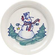 Great Bay Pottery Handmade Stoneware Snowman Plate